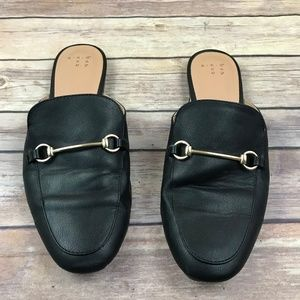 A New Day Black Gold Mule Slip On Shoes